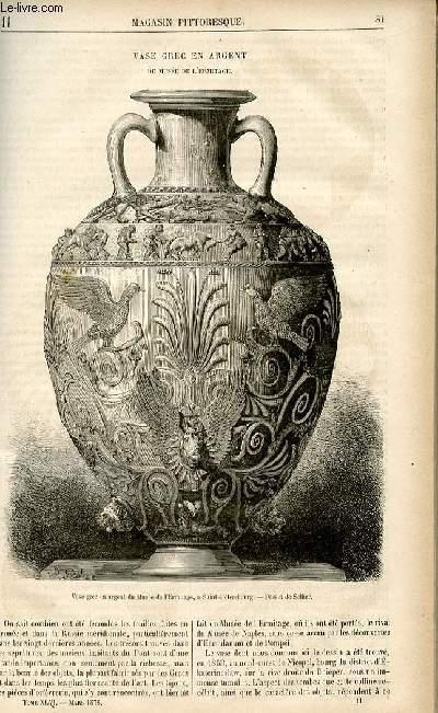 LE MAGASIN PITTORESQUE - Livraison n°11 - Vase grec en argent du musée de l'ermitage.