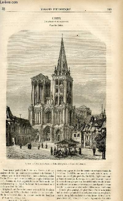 LE MAGASIN PITTORESQUE - Livraison n°32 - Lisieux (Calvados), à suivre.