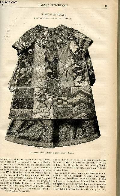 LE MAGASIN PITTORESQUE - Livraison n°07 - manteau de Héraut de l'ordre de Saint Hubert de Bavière.