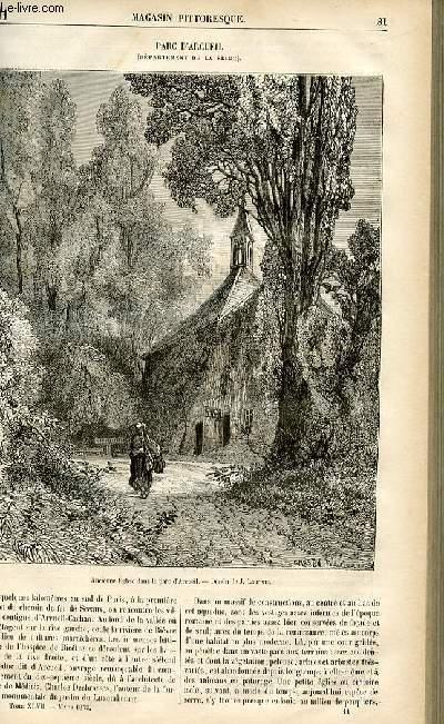 LE MAGASIN PITTORESQUE - Livraison n°11 - Parc d'Arcueil (Seine).