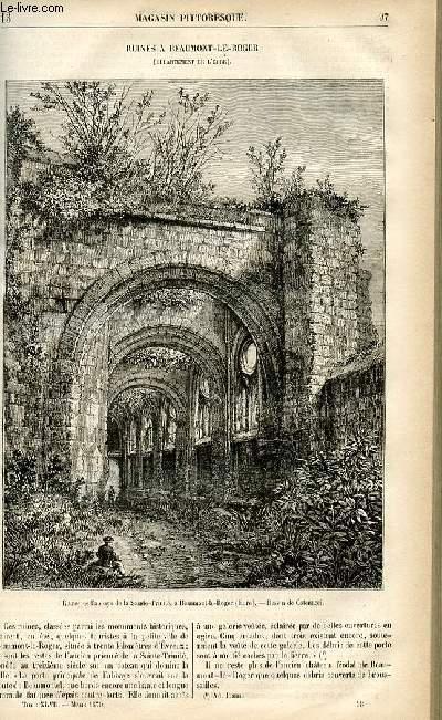 LE MAGASIN PITTORESQUE - Livraison n°13 - Ruines à Beaumont Le Roger (Eure).