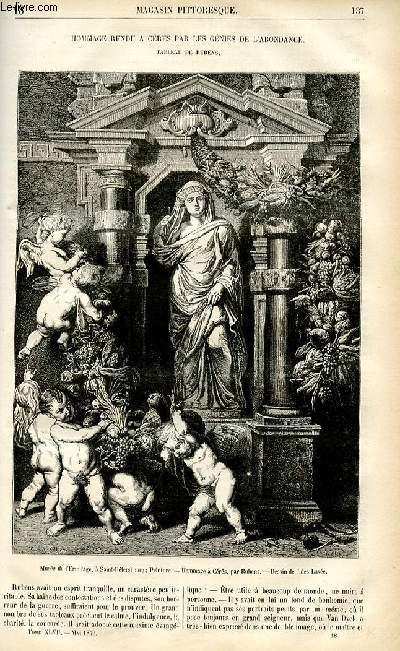 LE MAGASIN PITTORESQUE - Livraison n°18 - Hommage rendu à Cérès par les génies de l'abondance - tableau de Rubens.