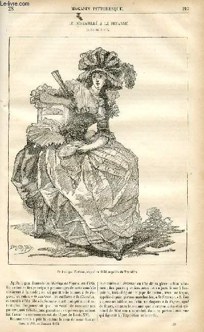 LE MAGASIN PITTORESQUE - Livraison n°28 - Le déshabillé à la Suzanne (mode de 1785).