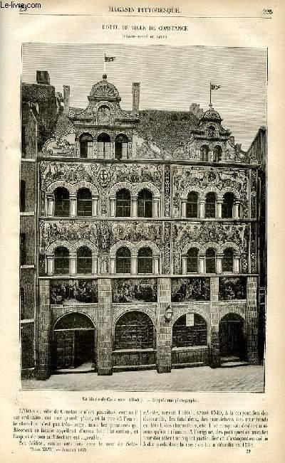 LE MAGASIN PITTORESQUE - Livraison n°29 - Hôtel de ville de Constance (Grand Duché de Bade).
