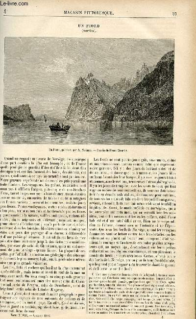 LE MAGASIN PITTORESQUE - Livraison n°04 - Un fiord (Norvège).