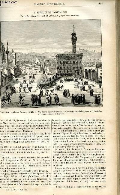 LE MAGASIN PITTORESQUE - Livraison n°20 - Le supplice de Savonarole.