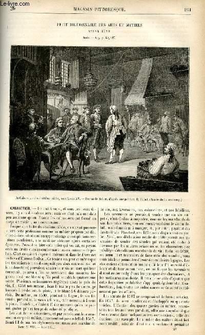 LE MAGASIN PITTORESQUE - Livraison n°26 - Petit dictionnaire des arts et métiers avant 1789,suite - Cbaretier.