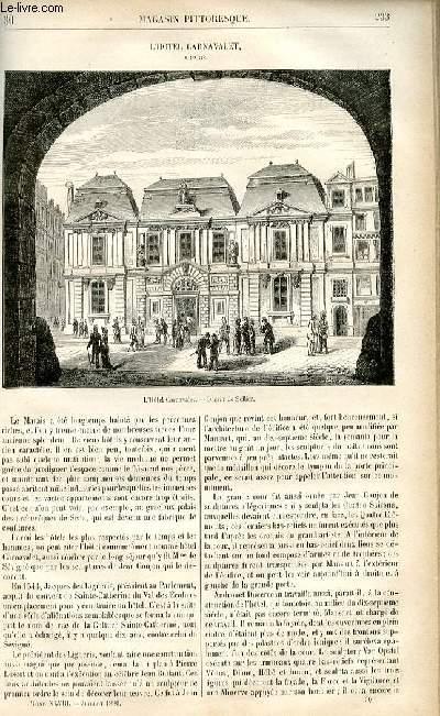 LE MAGASIN PITTORESQUE - Livraison n°30 - L'hôtel Carnavalet à PAris.