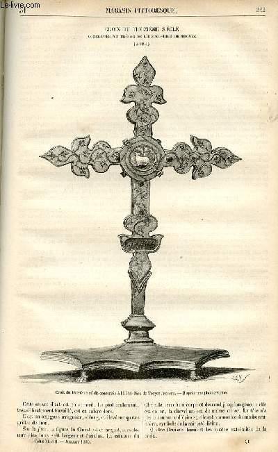 LE MAGASIN PITTORESQUE - Livraison n°31 - Croix du 13ème siècle conservée au trésor de l'Hôtel Dieu de Troyes (Aube).