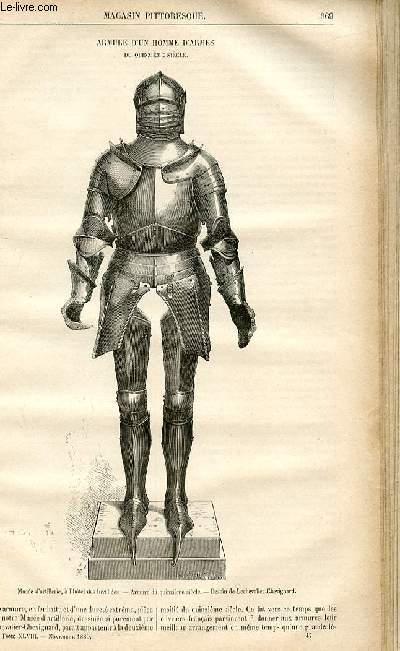 LE MAGASIN PITTORESQUE - Livraison n°47 - Armure d'un homme d'armes du 15ème siècle.