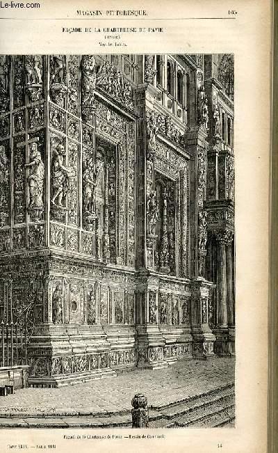 LE MAGASIN PITTORESQUE - Livraison n°14 - Façade de la Chartreuse de Pavie (Italie).