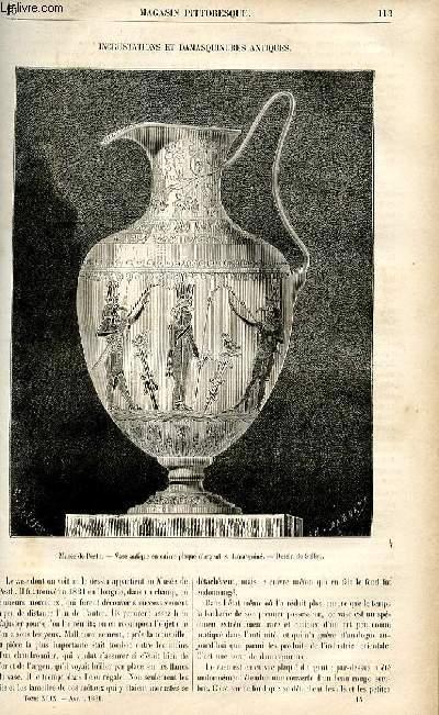 LE MAGASIN PITTORESQUE - Livraison n°15 - Incrustations et damasquinures antiques.