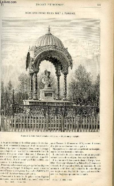 LE MAGASIN PITTORESQUE - Livraison n°16 - Buste d'un prince indien mort à Florence.