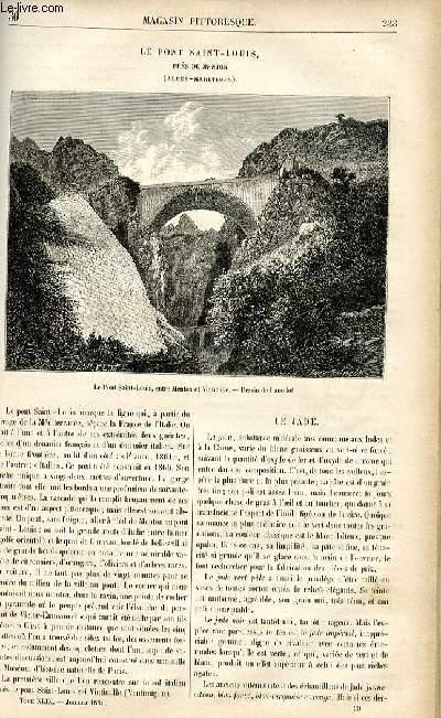 LE MAGASIN PITTORESQUE - Livraison n°30 - Le pont Saint Louis près Menton (Alpes Maritimes).