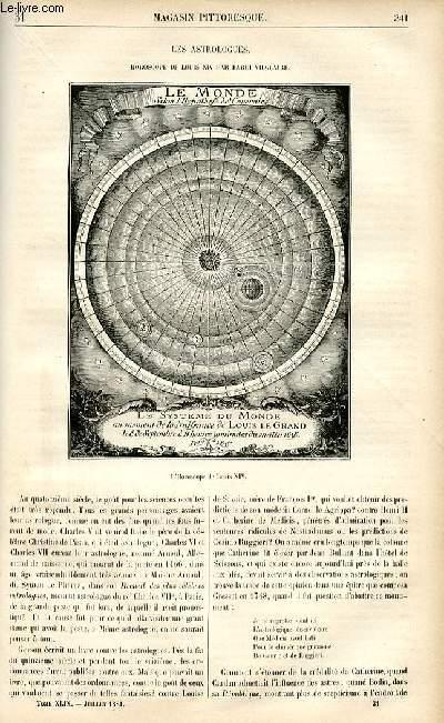 LE MAGASIN PITTORESQUE - Livraison n°31 - Les astrologues - horoscope de Louis XIV par Bardi Vilclaire.