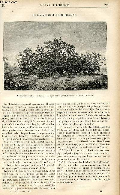 LE MAGASIN PITTORESQUE - Livraison n°33 - Un paysage de Théodore Rousseau.