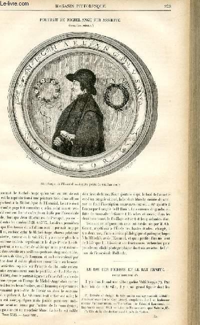 LE MAGASIN PITTORESQUE - Livraison n°35 - Portrait de Michel ange sur assiette (16ème siècle).