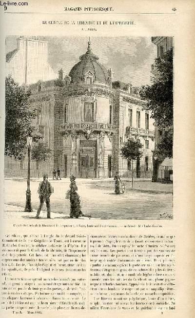 LE MAGASIN PITTORESQUE - Livraison n°09 - Le cercle de la libraire et de l'imprimerie à paris.