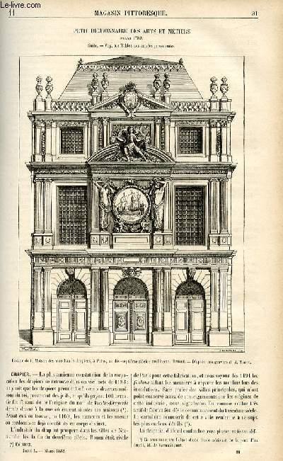 LE MAGASIN PITTORESQUE - Livraison n°11 - Petit dictionnaire des arts et métiers avant 1789,suite - Drapier.
