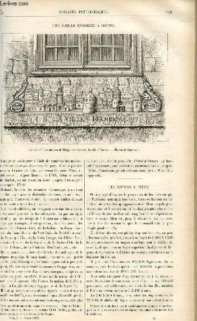 LE MAGASIN PITTORESQUE - Livraison n°15 - Une vieille enseigne à Dieppe.