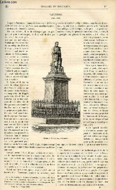 LE MAGASIN PITTORESQUE - Livraison n°16 - Vaucanson, 1709-1782.