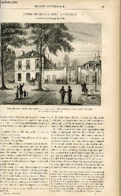LE MAGASIN PITTORESQUE - Livraison n°21 - L'Hôtel des Menus Plaisirs à Versailles - Assemblée nationale de 1789.