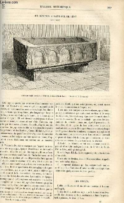 LE MAGASIN PITTORESQUE - Livraison n°27 - Un bénitier à Saint Pol de Léon (Finistère).
