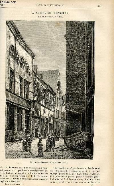 LE MAGASIN PITTORESQUE - Livraison n°28 - La maison des musiciens, rue de Tambour, à reims, à suivre.