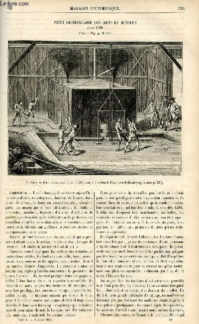 LE MAGASIN PITTORESQUE - Livraison n°30 - Petit dictionnaire des Arts et métiers avant 1789 - suite - fondeurs.