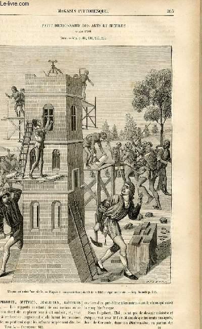 LE MAGASIN PITTORESQUE - Livraison n°39 - Petit dictionnaire des arts et métiers avant 1789,suite -lapidaires, orfèvres, joaillers, batteurs d'or...