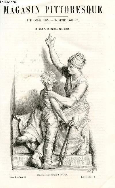 LE MAGASIN PITTORESQUE - Livraison n°01  - Un groupe en marbre par CHapu, gravure.
