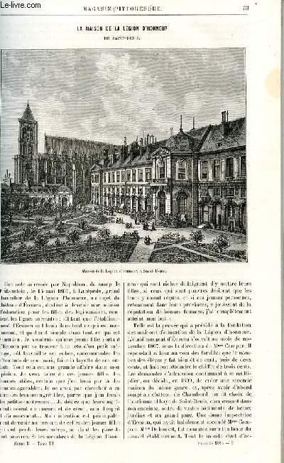 LE MAGASIN PITTORESQUE - Livraison n°03 - La maison de la Légion d'Honneur à Saint Denis.