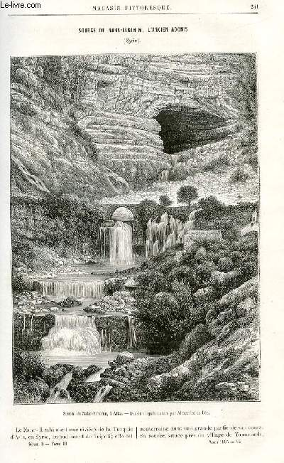 LE MAGASIN PITTORESQUE - Livraison n°15 - Source du Nahr-Ibrahim, l'ancien Adonis, Syrie.