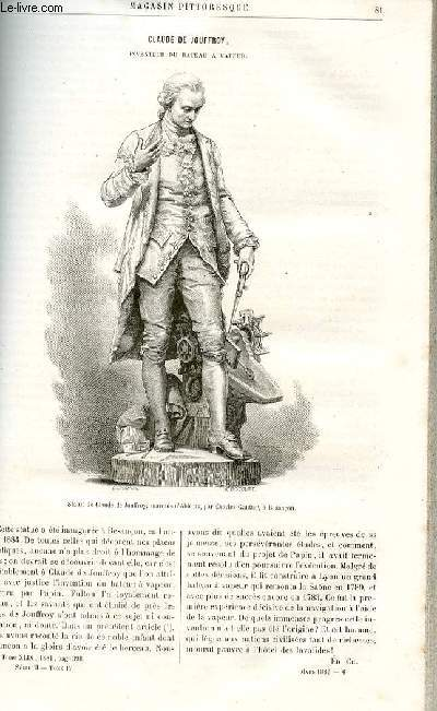 LE MAGASIN PITTORESQUE - Livraison n°06 - Claude de Jouffroy, inventeur du bateau à vapeur par Ch (petit article).