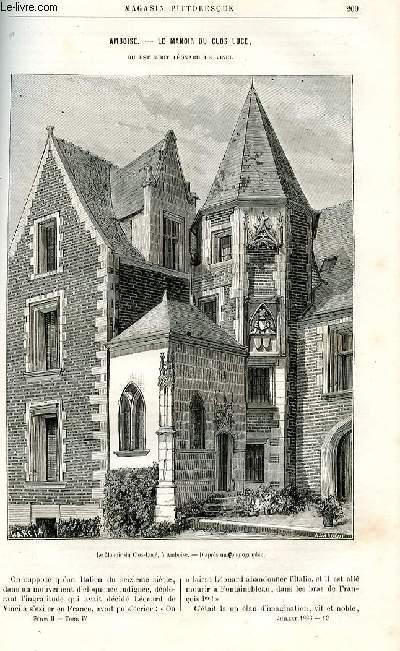 LE MAGASIN PITTORESQUE - Livraison n°13 - Amboise - Le manoir du Clos Lucé où est mort Léonard de Vinci par Charton.
