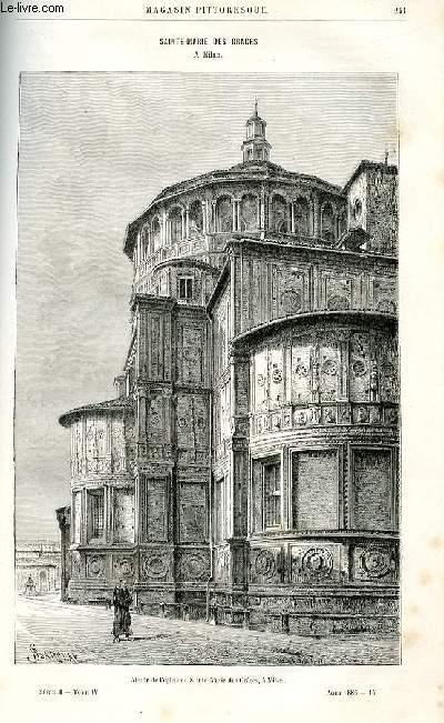 LE MAGASIN PITTORESQUE - Livraison n°15 - Sainte MArie des Grâces à Milan par Charton.