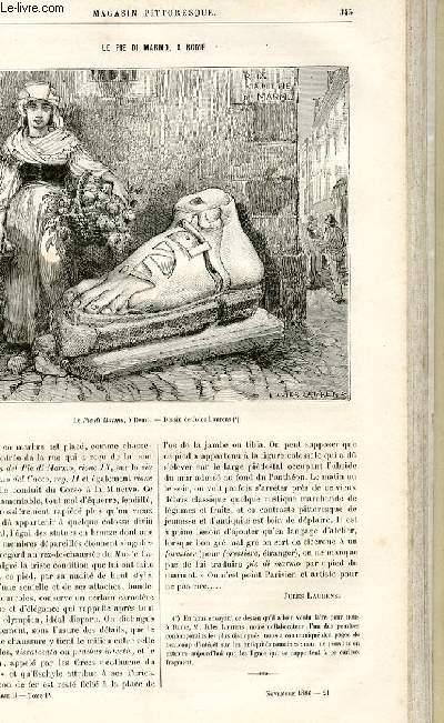 LE MAGASIN PITTORESQUE - Livraison n°21 - Le pie di marmo à Rome par Jules Laurens (petit article).
