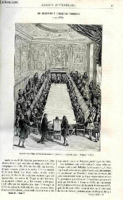 LE MAGASIN PITTORESQUE - Livraison n°02 - Uneréception à l'Académie française vers 1713.