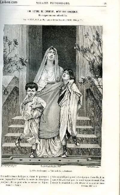 LE MAGASIN PITTORESQUE - Livraison n°04 - Une lettre de Cornélie, mère des Gracques : remarques sur son authenticité par G.L.