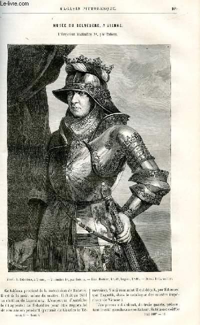LE MAGASIN PITTORESQUE - Livraison n°11 - Musée du Belvédère à Vienne -L'empereur maximilien Premier par Rubens.