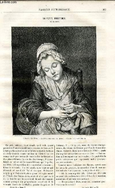 LE MAGASIN PITTORESQUE - Livraison n°24 - La petite tricoteuse de Greuze.