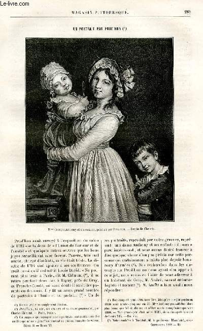 LE MAGASIN PITTORESQUE - Livraisons n°18 et 18bis - Un portrait par Prud'Hon par Ed. Ch.