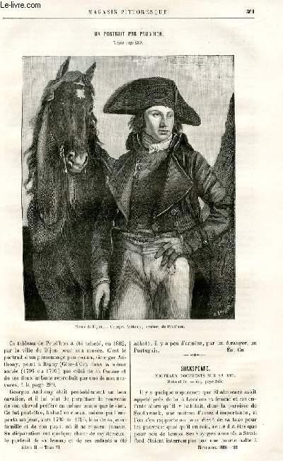 LE MAGASIN PITTORESQUE - Livraison n°22 - Un portrait par Prud'Hon (petit article de quelques lignes).