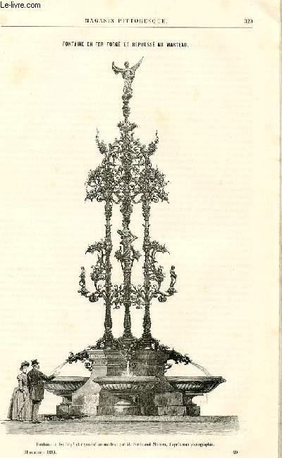 LE MAGASIN PITTORESQUE - Livraison n°20 - Fontaine en fer forgé et repoussé au marteau.