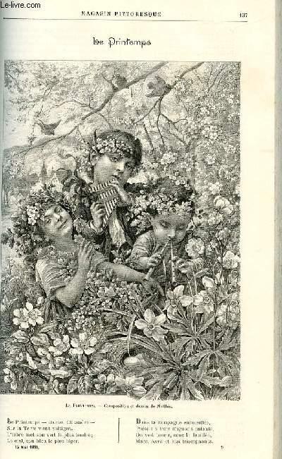 LE MAGASIN PITTORESQUE - Livraison n°09 - Le printemps par Adrien Dézamy, poème.