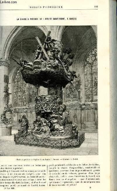 LE MAGASIN PITTORESQUE - Livraison n°10 - La chaire à prêcher de l'église Saint André à Anvers par Thiébault - Sisson.