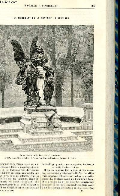 LE MAGASIN PITTORESQUE - Livraison n°18 - Le monument de la fontaine au Ranelagh par Jules Legrand.