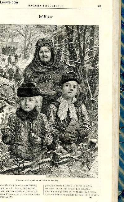 LE MAGASIN PITTORESQUE - Livraison n°22 - L'hiver, gravure.
