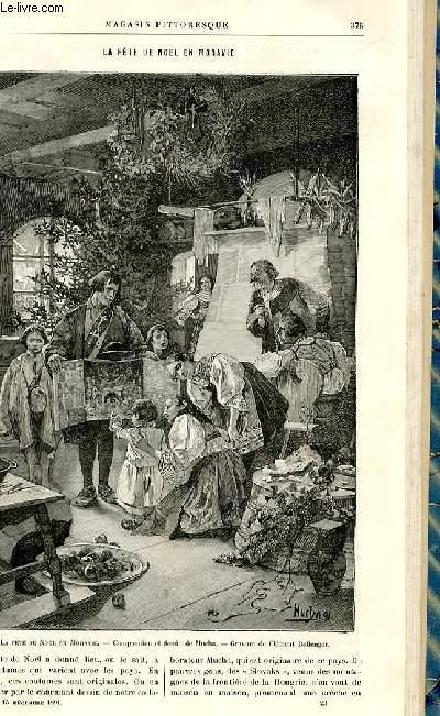 LE MAGASIN PITTORESQUE - Livraison n°23 - La fête de Noël en moravie, gravure.