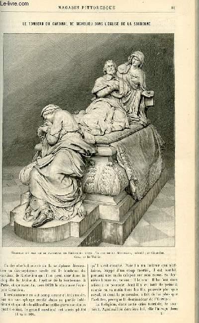 LE MAGASIN PITTORESQUE - Livraison n°06 - Le tombeau du cardinal de Richelieu dans l'église de la Sorbonne par Jordant.